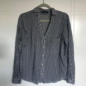 Black and White Striped Button-Down Blouse